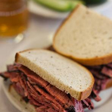 close up corned beef sandwich